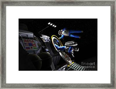 Explorers In Space Suits Exit An Framed Print by Walter Myers