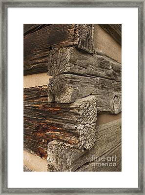 Exterior Corner Of A Wooden Building Framed Print