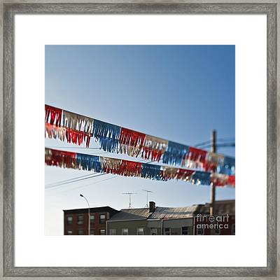 Exterior Red White And Blue Decorations Framed Print by Eddy Joaquim