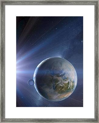 Extrasolar Earth-like Planet, Artwork Framed Print by Detlev Van Ravenswaay