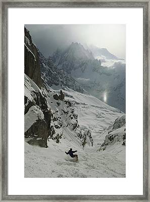 Extreme Skier Jean Franck Charlet Framed Print by Gordon Wiltsie