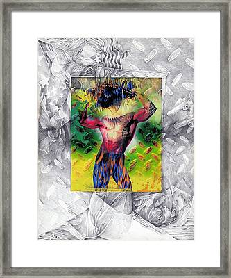 Eye-con Digi-man Framed Print by Leo Vincent
