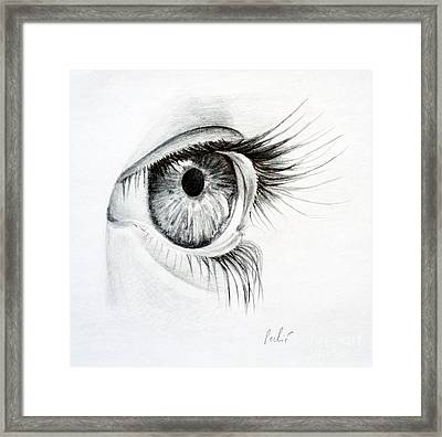 Framed Print featuring the drawing Eye Study by Eleonora Perlic