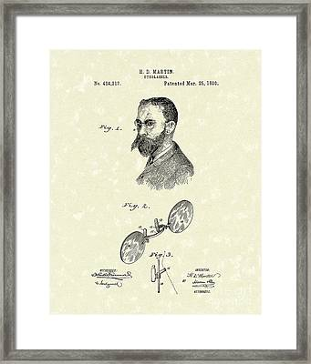 Eyeglasses 1890 Patent Art Framed Print