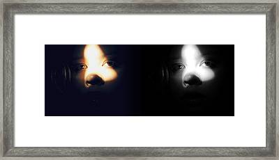 Eyes In Darkness Framed Print by Guadalupe Nicole Barrionuevo