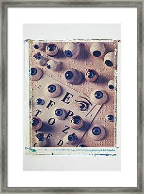 Eyes With Braille Page Framed Print by Garry Gay