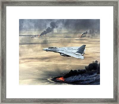 F-14 Fighter In Flight Over Burning Framed Print