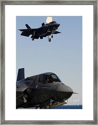 F-35b Lighnting II Variants Land Aboard Framed Print by Stocktrek Images