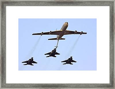 F15 Jets Being Refueled By A Boeing 707 Framed Print by Photostock-israel