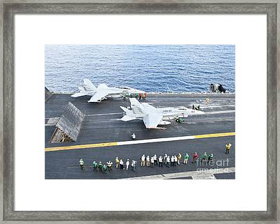 Fa-18 Aircraft Prepare To Take Framed Print by Stocktrek Images