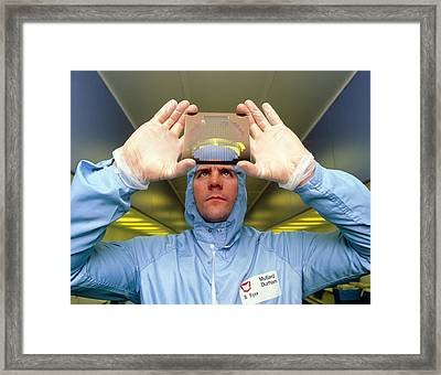 Fabrication Of Integrated Circuit Wafers Framed Print by David Parkerseagate Microelectronics Ltd