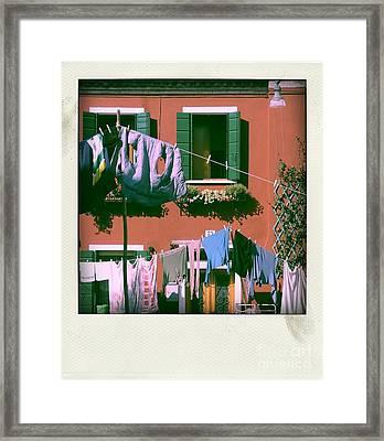 Facades Of Burano. Venice Framed Print by Bernard Jaubert