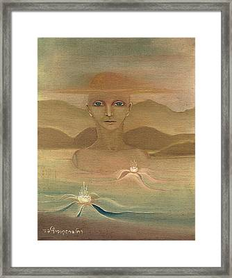Face From Nature Desert Landscape Abstract Fantasy With Flowers Blue Eyes Yellow Cloud  In Sky  Framed Print