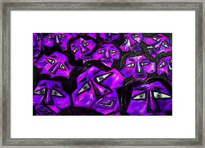 Faces - Purple Framed Print by Karen Elzinga