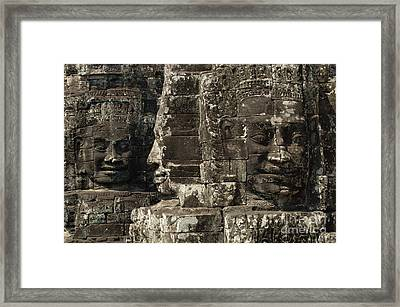 Faces Of Banyon Angkor Wat Cambodia Framed Print by Bob Christopher