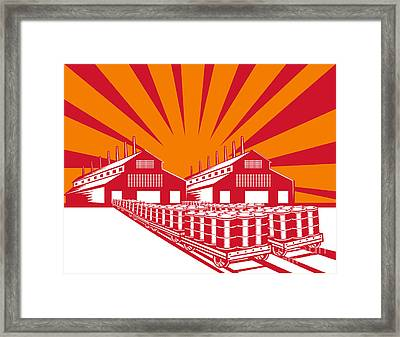 Factory Building Oil Drum Barrel Retro Framed Print by Aloysius Patrimonio