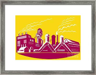 Factory Building Power Plant Retro Framed Print by Aloysius Patrimonio