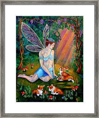 Fae And Corgi Pups Framed Print by Lyn Cook