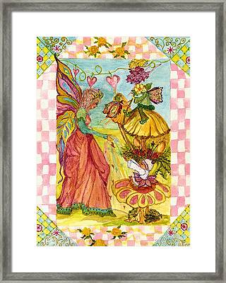 Faeries And Frogs Fantasy Framed Print by Cheryl Carrabba