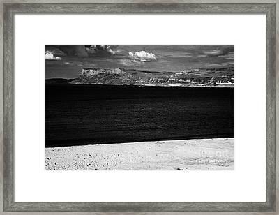 Fair Head On The North Antrim Coast With Ballycastle Sandy Beach Framed Print by Joe Fox
