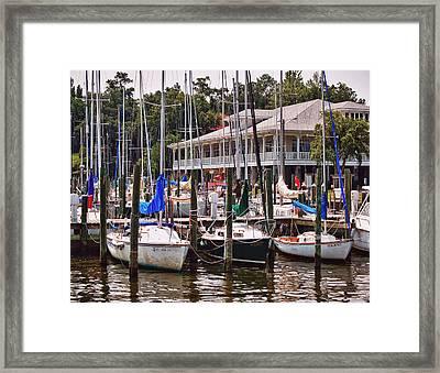 Fairhope Yacht Club Sailboat Masts Framed Print by Michael Thomas