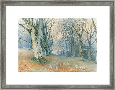 Fairies And Squirrels Framed Print by Richard Doyle