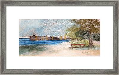 Fairport Harbor Pier Framed Print by Lisa Urankar