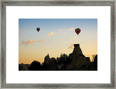 Fairy Chimneys And Balloons Framed Print by RicardMN Photography