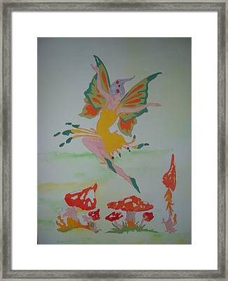 Fairy Over The Toadstools Framed Print by Susanne Lawrence BA Hons