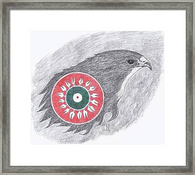 Falcon Spirit With Apache Design Framed Print by Tony  Nelson