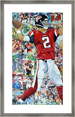 Falcons Quaterback Framed Print by Michael Lee