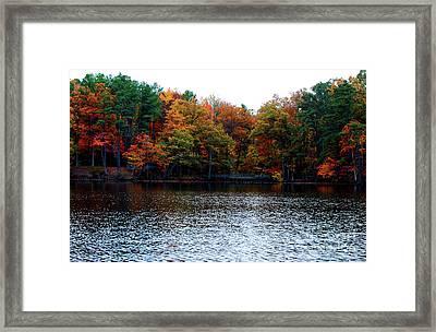 Fall Across The Lake Framed Print by Linda Mesibov