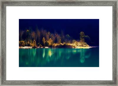 Fall Along The Lake Framed Print