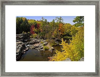 Framed Print featuring the photograph Fall At The Eau Claire Dells by Judy  Johnson