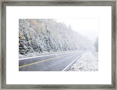 Fall Color And Snow Along The Highland Scenic Highway Framed Print