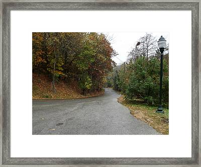 Fall Country Lane Framed Print by CGHepburn Scenic Photos