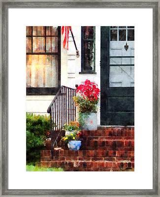 Fall Flowers In Fancy Pots Framed Print