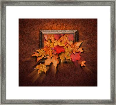 Fall Leaves Coming Out Of Old Antique Frame Framed Print by Angela Waye