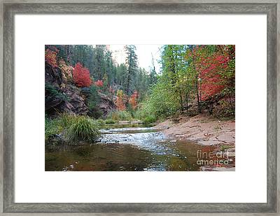 Fall Licks Both Sides Of The River Framed Print by Heather Kirk