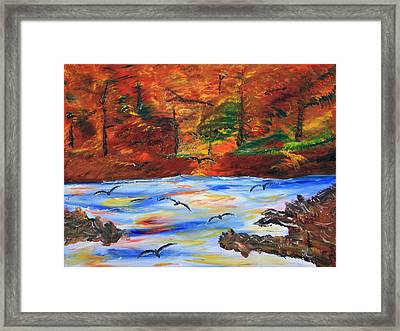 Fall On The Bow River Framed Print by James Bryron Love
