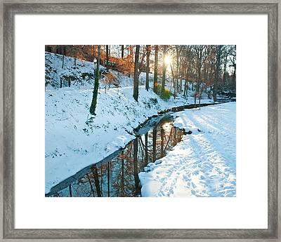Fall Park Sunset Framed Print by Nian Chen