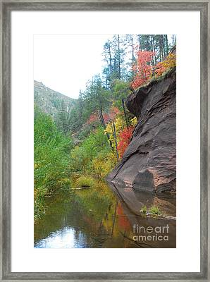 Fall Peeks From Behind The Rocks Framed Print