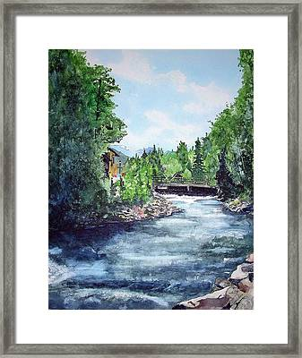 Framed Print featuring the painting Fall River Estes Park by Tom Riggs