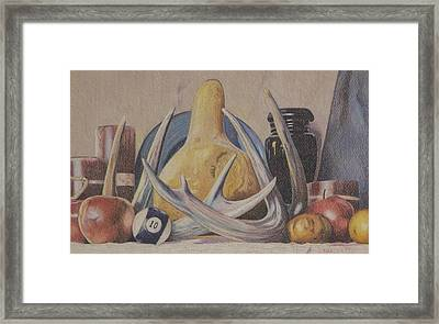 Fall Still Life With Antlers Framed Print