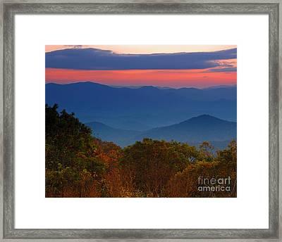Fall Sunset Sky At Brasstown Bald Georgia Framed Print