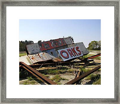 Framed Print featuring the photograph Fallen Sign by Steve Sperry