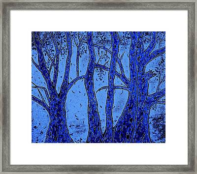 Falling Leaves Blue Framed Print