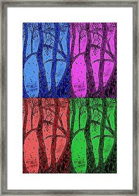 Falling Leaves In Four Colors Framed Print
