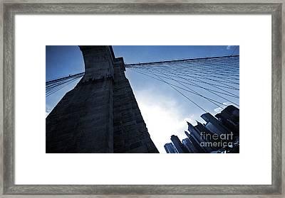 Falling Lines - Brooklyn Bridge Framed Print by Thomas Splietker