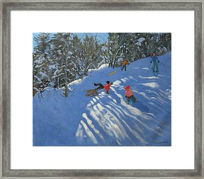 Falling Off The Sledge Framed Print by Andrew Macara